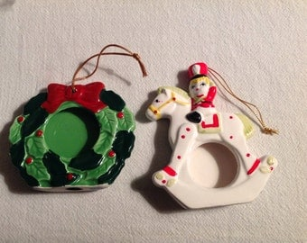 2--Vintage Ceramic--Christmas ORNAMENTS--To Add PHOTOS To--Hobby Horse--Wreath--Photo Ornaments