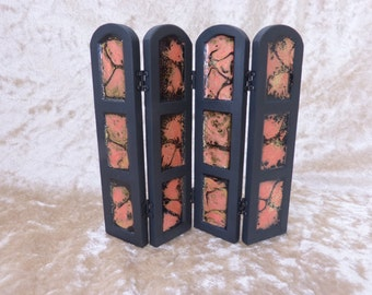 dollhouse miniature folding  black screen, modern style decorated with faux enamel panels in orange, black aand gold accents