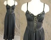 vintage 80s Night Gown - Sheer Black Corset Front Full Nightgown 1980s Lingerie Sz S