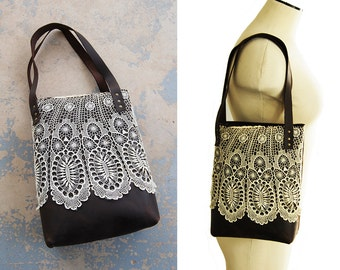 Leather Tote Bag - Rustic Leather and Lace Purse