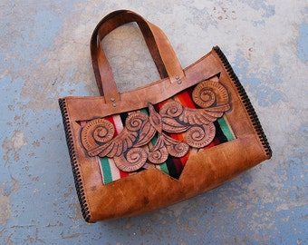 Tooled Leather Purse - Southwestern Bird Cut Out Tote Bag - Thunderbird Cutwork Brown Leather Purse - OOAK