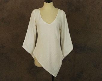 vintage 70s Cotton Gauze Shirt - Boho Asymmetrical Bell Sleeve Tunic Blouse Sz M