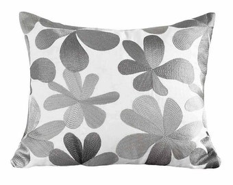 Textured Metallic Pillow Cover, White Silver Pillows, Embroidered Floral Pillow, Modern Grey Pillows, Floral Throw Pillow, 14x20, 16x20