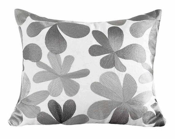 Textured Metallic Pillow Cover White Silver Pillows Designer