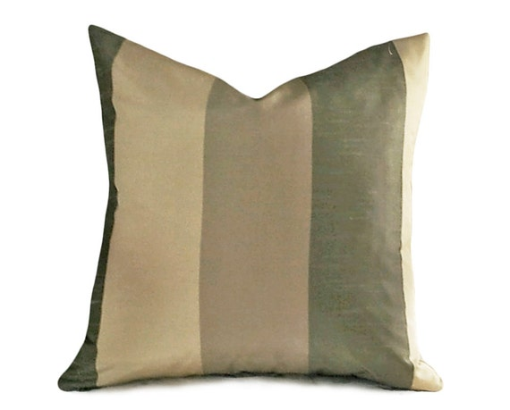 Throw Pillows For Sage Green Couch : Sage Green Pillows Taupe Throw Pillows Striped by PillowThrowDecor
