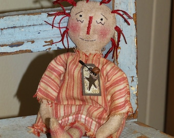 Hand Stitched Primitive Raggedy Ann Rag Doll