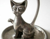 Vintage Silver Kitty Cat Signed Art Ring Holder Floral Trinket Tray Siamese Wide-Eyed Ornate Design Jewelry Saucer Dish Hong Kong