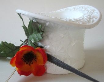 Vintage Fenton Button Star Depression White Milkglass Top Hat Large Vase Planter Candy Dish Centerpiece Holder
