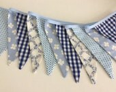 Blue Dainty Bunting - Fabric Garland, Wedding Bunting, pretty blues