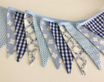 Blue Dainty Bunting - Fabric Garland, Wedding Bunting, pretty blues