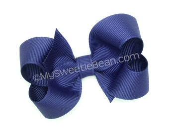 """Royal Blue Hair Bow, 3 inch Boutique Bow, Toddlers No Slip Bow, 3"""" Bow for Baby Girls, Queen's Blue, Dark Royal Blue Medium Grosgrain Bow"""