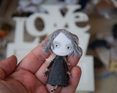 My Personal Little Angel, Black & White, Art Doll Brooch, gift for her