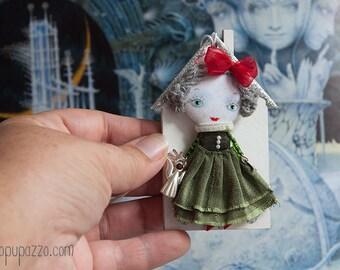 Christmas Tiny Girl, Art doll brooch, Christmas gift, christmas ornament