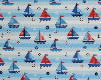Sailing Ships and Boats Blue and Red Cotton Fabric, Kid's Nautical Pure Cotton Fabric