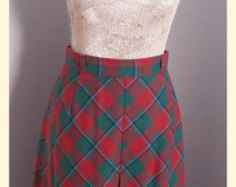 CLEARANCE SALE Vintage Wool A-line Skirt - Pink Turquoise Plaid