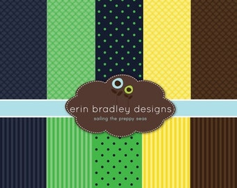 60% OFF SALE Nautical Digital Papers Blue Green Yellow Brown Personal & Commerical Use Printable Paper Set - INSTANT Download