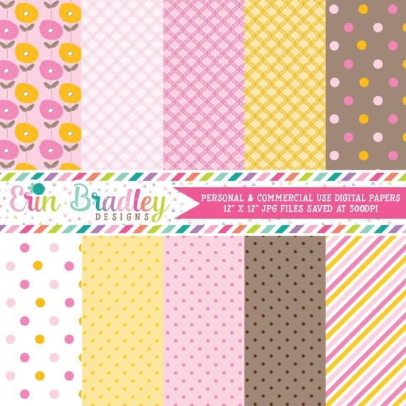 Digital Scrapbook Papers Personal and Commercial Use Pink Orange and Brown Medley Instant Download