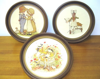 Vintage 1970s HOLLY HOBBIE Set of 3 Round Framed Cardstock Pictures - Wall Hangings