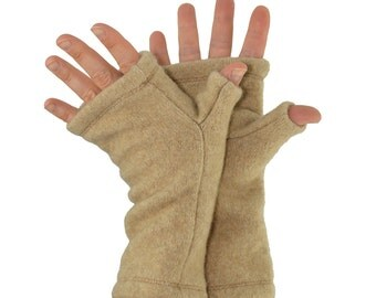 Cashmere Fingerless Gloves in Pale Caramel - Upcycled Wool Sweater
