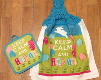 Keep Calm And Hop On Whole Kitchen Towel & Hot Pad - 2 Piece Set - Easter Spring Bunnies