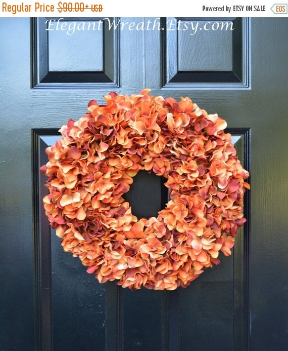 Orange Fall Wreaths, Autumn Monogram Hydrangea Wreath, Ready to Ship , Orange Hydrangea Wreath, Fall Decor Halloween Decor