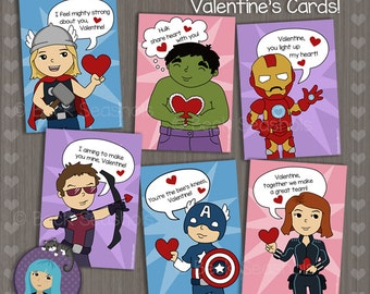 Printable Avengers Cuties Valentine's Day Card