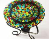 Tart Burner - Rainbow Fused Glass , Oil Burner, Home Decorating, Room Scents, Home Fragrance, Perfume Oil Holder