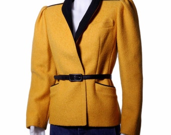 Authentic 1970's Auckie Sanft of Montreal bright yellow belted wool blazer with velvet collar size small shipping included USA and Canada
