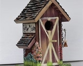 Brown Barn Birdhouse , Handmade , Hand Painted with Lots of Extras and a Clean Out