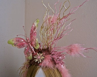 Tatiana: Fairy Headpiece Butterfly Fascinator Headband Pink Gold Branches Leaves Feathers Oversized Statement Faerie Sprite Renaissance Fair