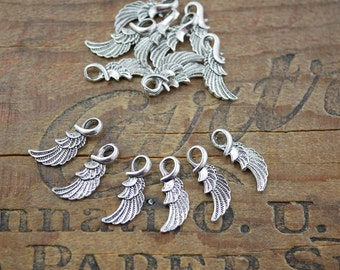 Pewter Wing Charms Double Sided Silver Wing Charm Pendant Charm (6)