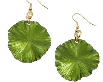 Greenery Anodized Aluminum Lily Pad Earrings - Greenery Leaf Earrings -  Green Drop Earrings - 10 Year Anniversary Gift Idea for Her