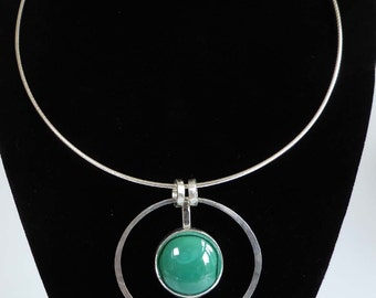 Green Malachite silver pendant silver snake,cable or rubber necklet