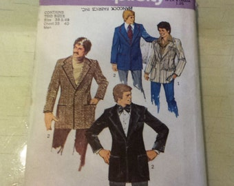 1970's Simplicity Teen Boys and Mens Blazer Pattern 6128 Size 38-40 uncut