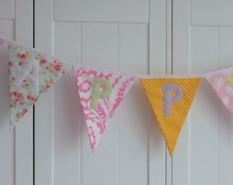 Vintage Chic Fabric Bunting with Happy Birthday Banner Pretty Colours Custom made to order Birthday Party Wedding Celebration Photo prop