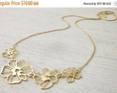 4th of July SALE Poppies Necklace in Gold