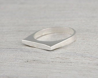 Sterling Silver Casting Flat Smooth Ring, Signet Ring, Brushed Seal ring, 925 Silver Ring