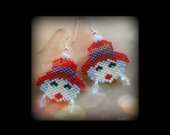 Red Hat Earrings – Hand-beaded – Delicas and Czech Firepolish Crystal