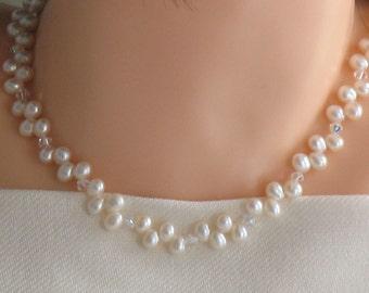 Sterling Silver Swarovski Freshwater Pearl Necklace/Bridal/Wedding/Bridesmaids/Flower Girl/Gift