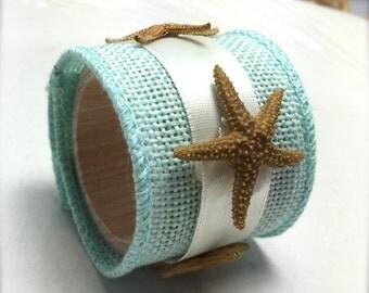 Brown Starfish Napkin Ring with Sea Blue Ribbon- Beach Wedding - seashore - shells