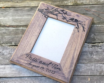 Picture frame, custom wedding photo frame, love birds wooden picture frame, personalized photo frame, 5x7 picture frame, wedding gift