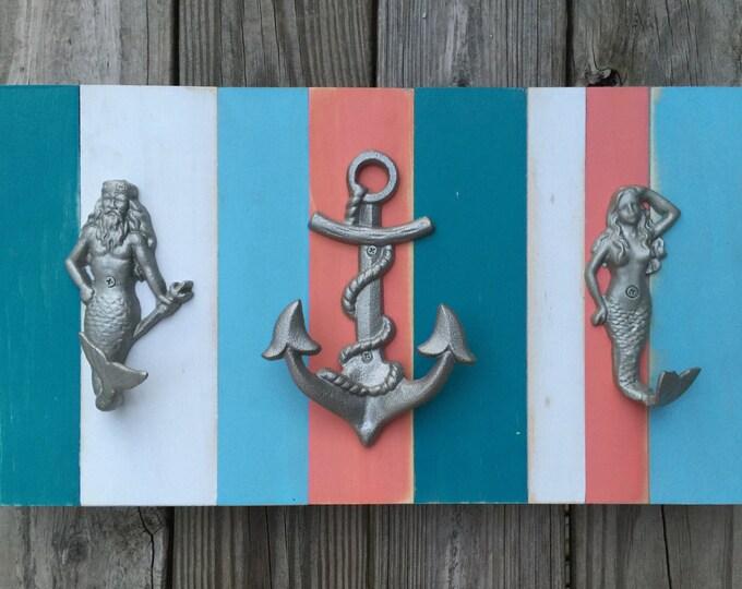 Merman Neptune Beach House Dreams towel rack lake cottage pool house outdoor shower jewelry organizer rustic modern coastal living