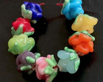 Lampwork Handmade Glass Colorful Rose Floral Beads (9 pc) (L853)