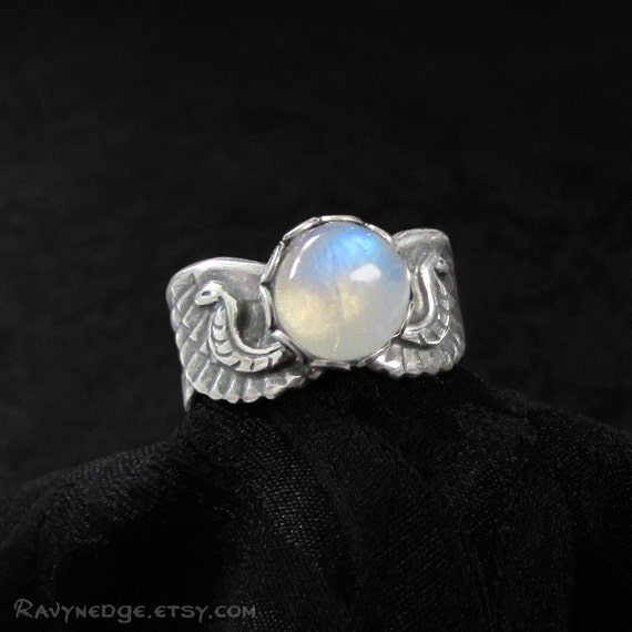 Isis Top Knuckle Ring - Rainbow Moonstone Ring, June Birthstone, Silver Egyptian Ring, Isis Ring, Pinky Ring, Midiring, Above Knuckle Ring