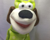 Sadie - A Girl's Best Friend Girly Dog Hand Puppet - Green Sweater (moving mouth)