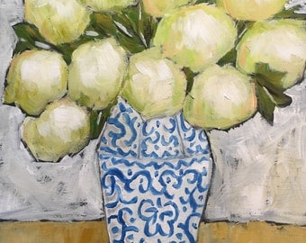 Ginger Hydrangeas original painting of still life flowers in a vase