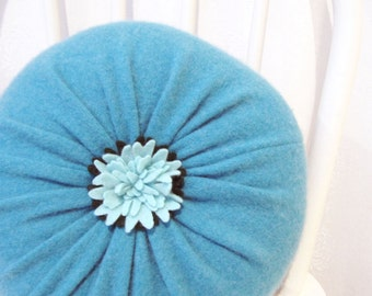 Turquoise Cashmere Round Flower Throw Pillow / Accent Decorative Couch Cushion / Felted Cashmere Wool Pillow Hostess Housewarming Gift No910