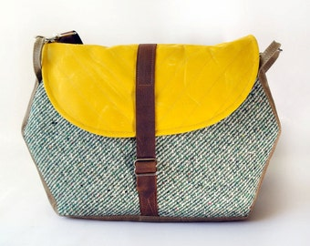 Waxed Canvas Messenger Bag / Hexagon Messenger in Yellow Waxed Canvas and Vintage Green Stripe Wool