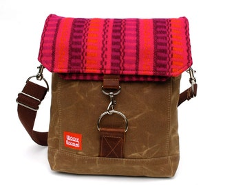 Waxed Canvas Satchel / Electric Stripe Recycled Wool and Oiled Leather Messenger Bag READY TO SHIP