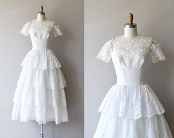 Mignonette wedding gown | vintage 1940s wedding dress | eyelet lace 40s wedding dress
